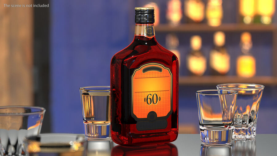 Rum Bottle 60 vol royalty-free 3d model - Preview no. 2