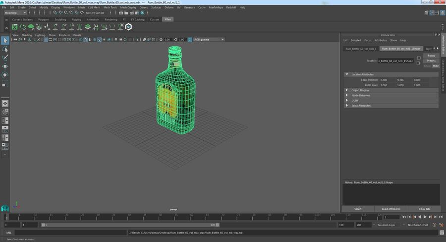 Rum Bottle 60 vol royalty-free 3d model - Preview no. 12
