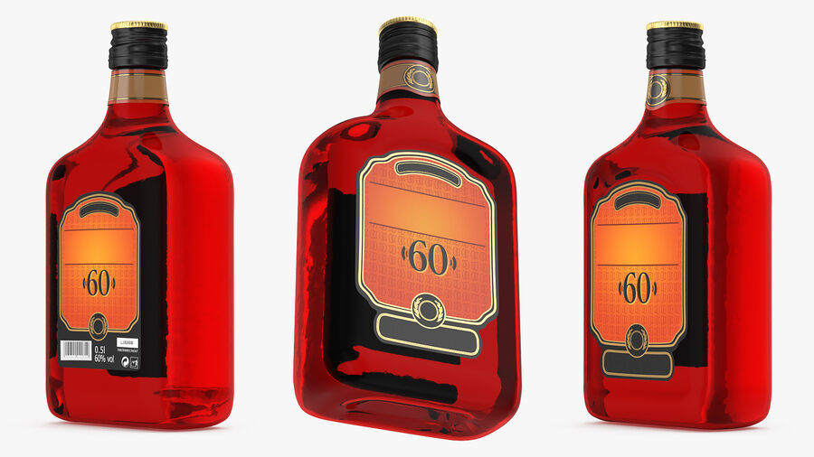 Rum Bottle 60 vol royalty-free 3d model - Preview no. 3