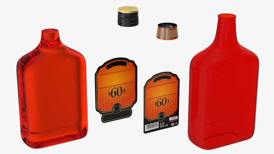 Rum Bottle 60 vol royalty-free 3d model - Preview no. 9