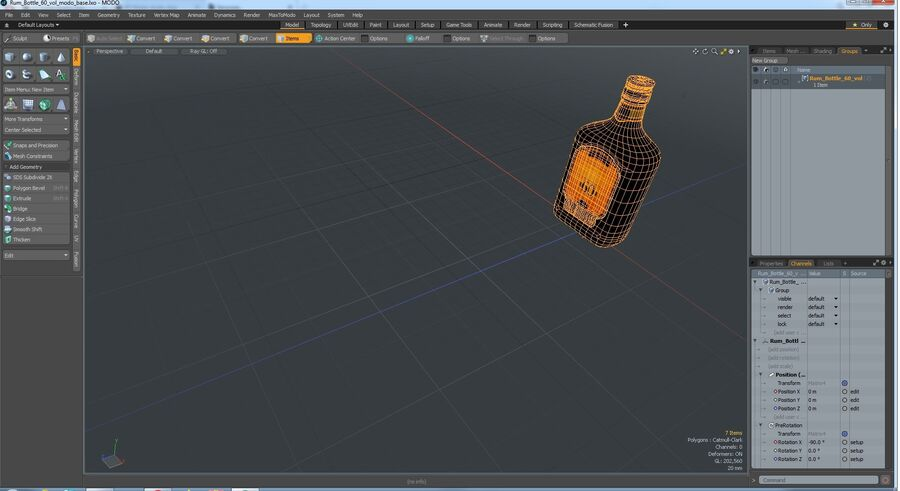 Rum Bottle 60 vol royalty-free 3d model - Preview no. 11