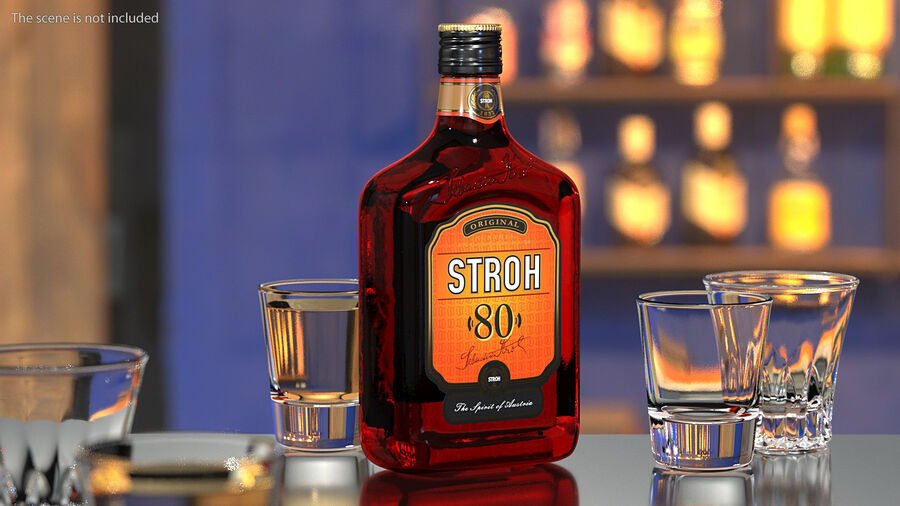 Stroh 80 Rum Bottle royalty-free 3d model - Preview no. 4
