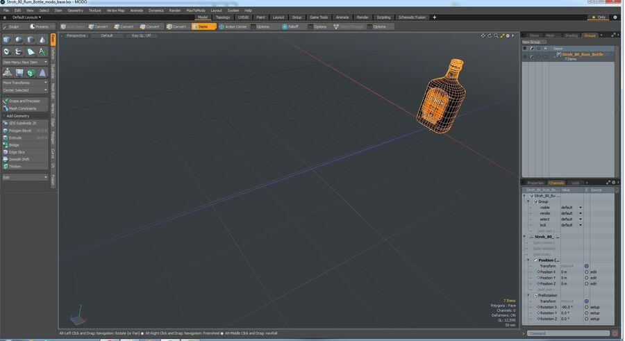 Stroh 80 Rum Bottle royalty-free 3d model - Preview no. 12