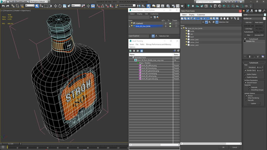 Stroh 80 Rum Bottle royalty-free 3d model - Preview no. 20