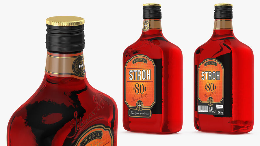 Stroh 80 Rum Bottle royalty-free 3d model - Preview no. 6