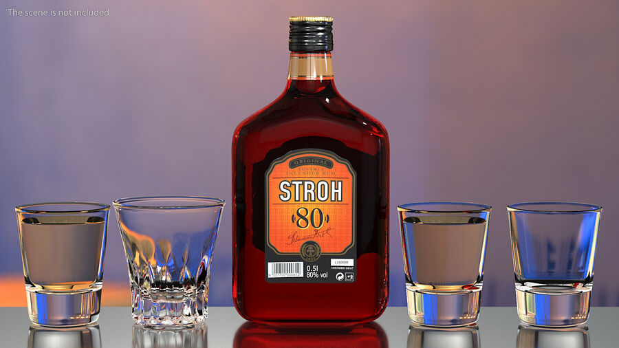 Stroh 80 Rum Bottle royalty-free 3d model - Preview no. 3