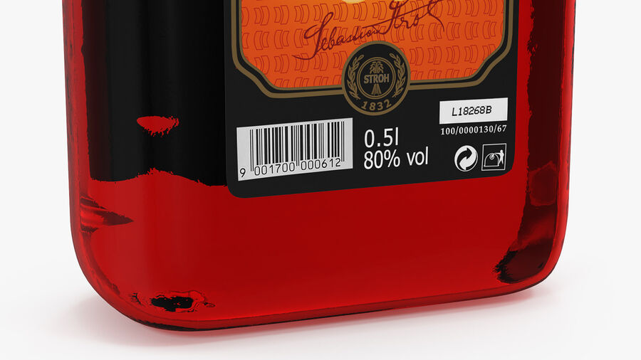 Stroh 80 Rum Bottle royalty-free 3d model - Preview no. 9