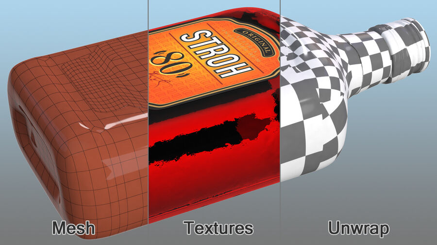 Stroh 80 Rum Bottle royalty-free 3d model - Preview no. 11