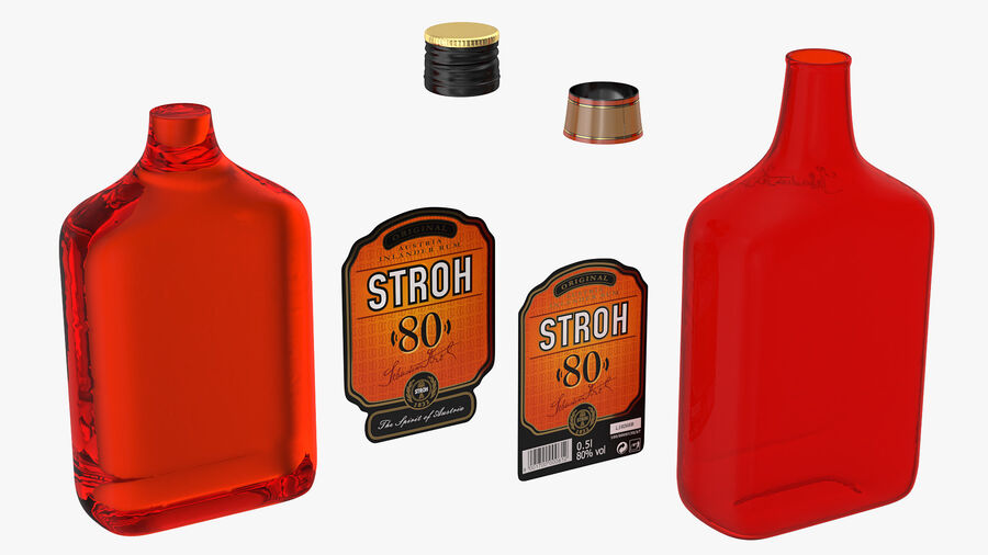 Stroh 80 Rum Bottle royalty-free 3d model - Preview no. 10