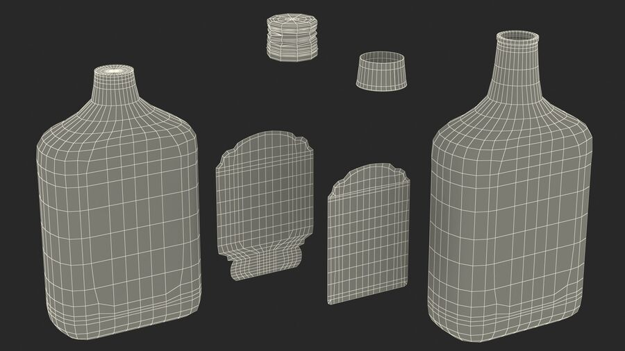 Rum Bottle 80 vol royalty-free 3d model - Preview no. 20