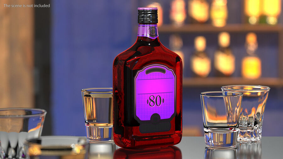 Rum Bottle 80 vol royalty-free 3d model - Preview no. 2