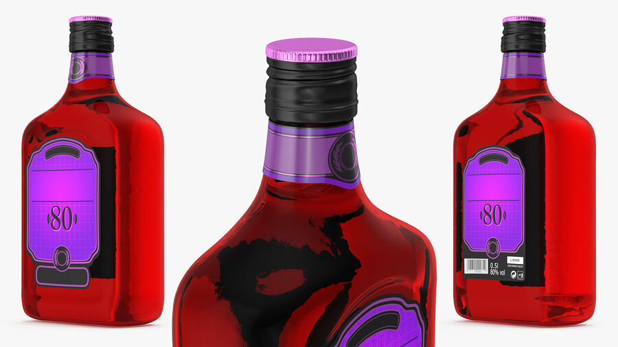 Rum Bottle 80 vol royalty-free 3d model - Preview no. 3