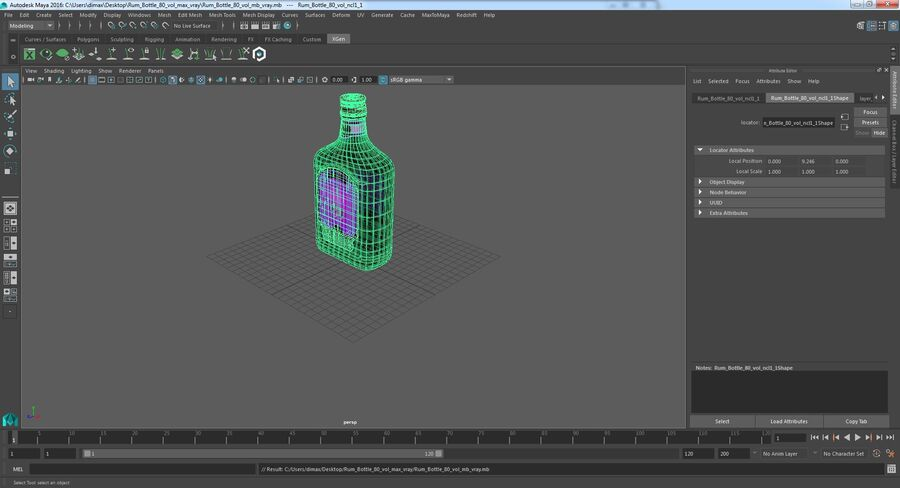 Rum Bottle 80 vol royalty-free 3d model - Preview no. 12
