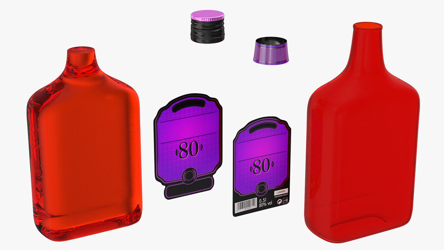 Rum Bottle 80 vol royalty-free 3d model - Preview no. 9