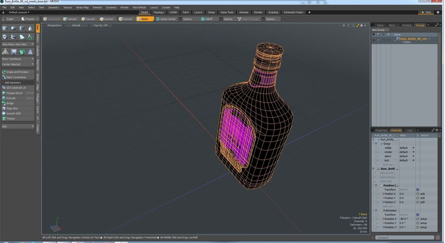 Rum Bottle 80 vol royalty-free 3d model - Preview no. 11
