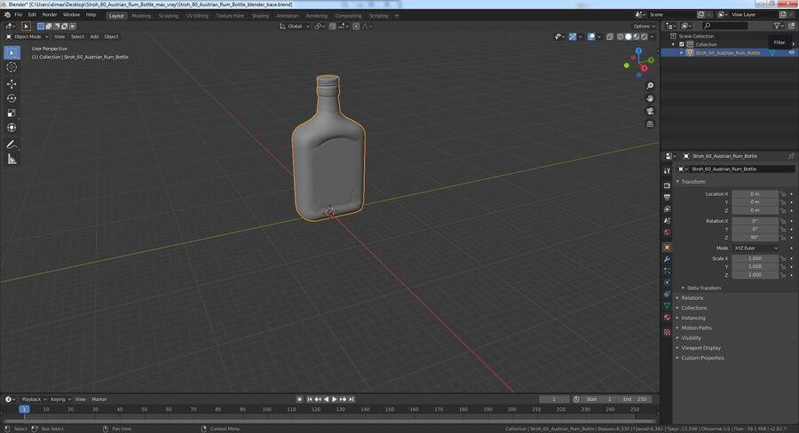 Stroh 60 Austrian Rum Bottle royalty-free 3d model - Preview no. 15