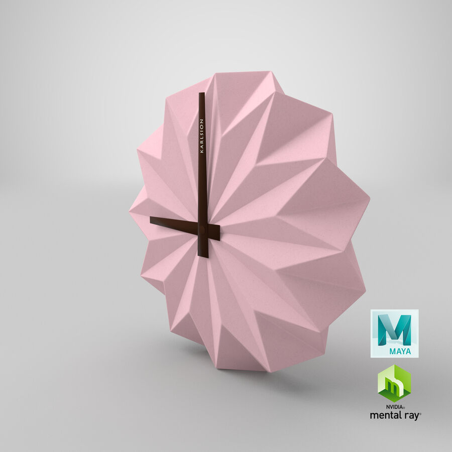 Karlsson Origami Wall Clock royalty-free 3d model - Preview no. 14