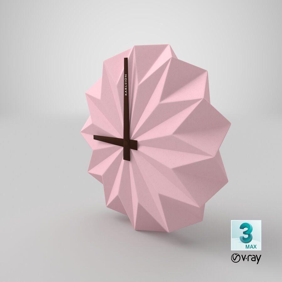 Karlsson Origami Wall Clock royalty-free 3d model - Preview no. 15