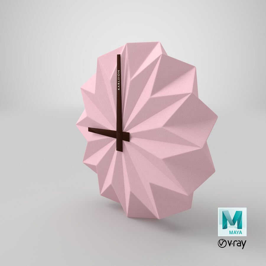 Karlsson Origami Wall Clock royalty-free 3d model - Preview no. 13