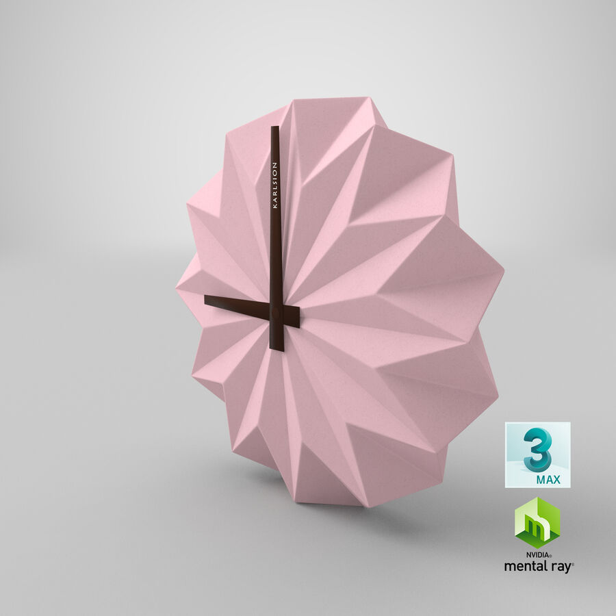 Karlsson Origami Wall Clock royalty-free 3d model - Preview no. 16