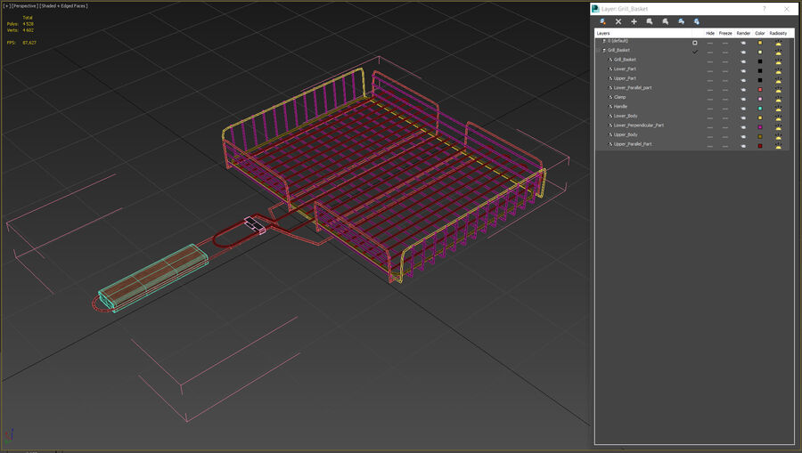 Grill Basket royalty-free 3d model - Preview no. 12