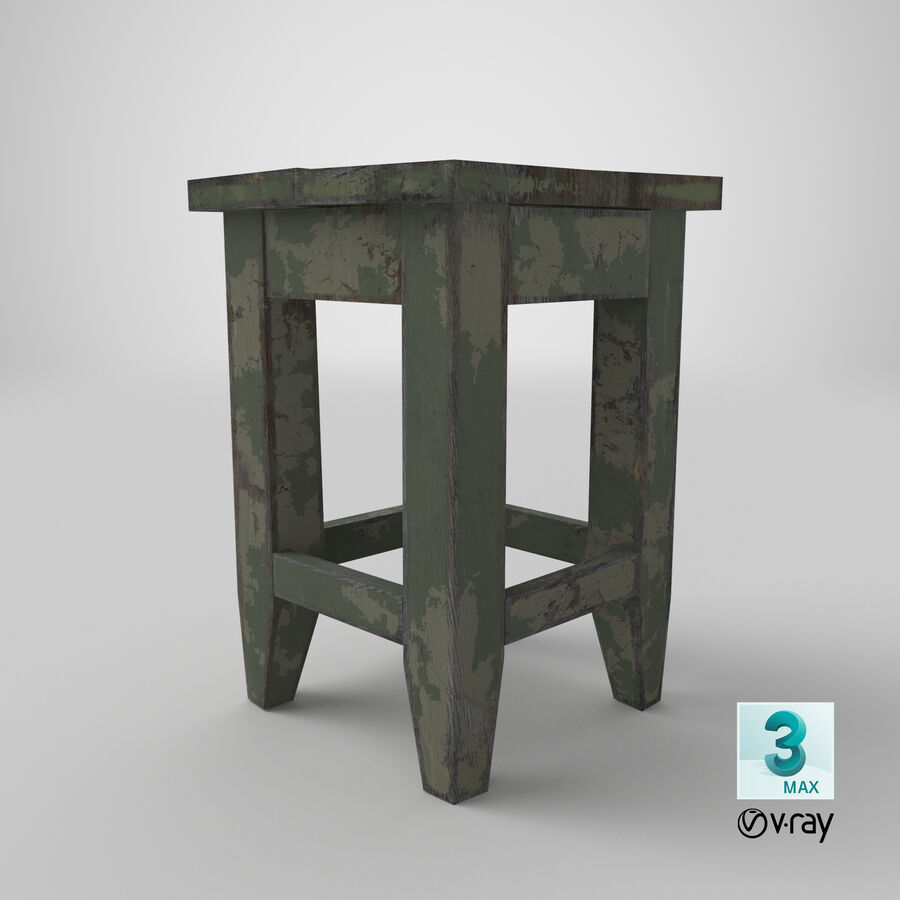 Stool USSR royalty-free 3d model - Preview no. 22