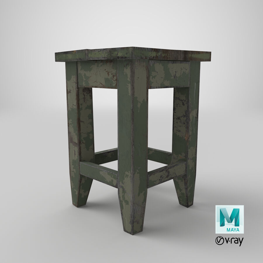 Stool USSR royalty-free 3d model - Preview no. 25