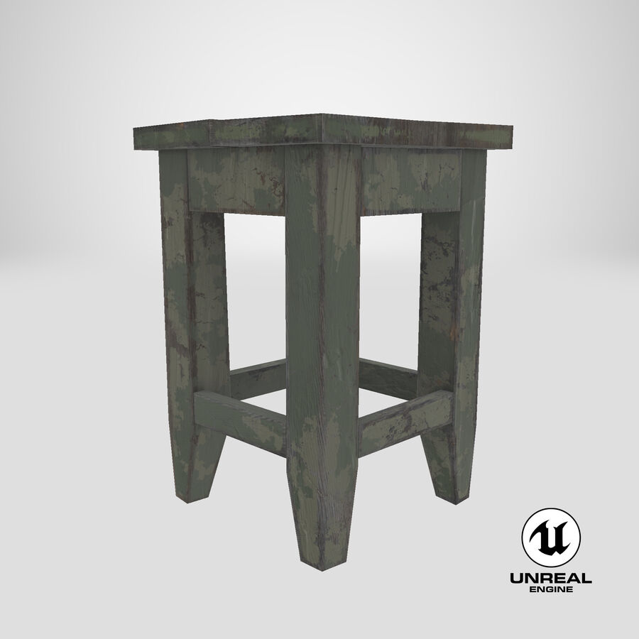Stool USSR royalty-free 3d model - Preview no. 19