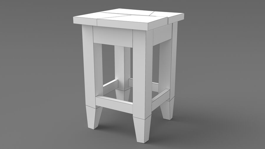 Stool USSR royalty-free 3d model - Preview no. 5