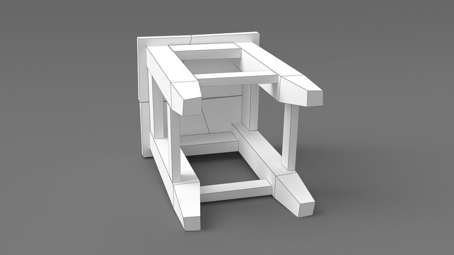 Stool USSR royalty-free 3d model - Preview no. 11