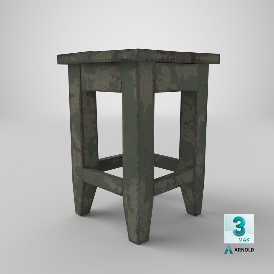 Stool USSR royalty-free 3d model - Preview no. 20