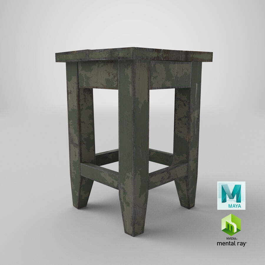 Stool USSR royalty-free 3d model - Preview no. 24