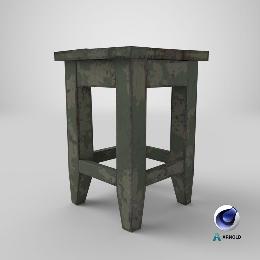 Stool USSR royalty-free 3d model - Preview no. 17
