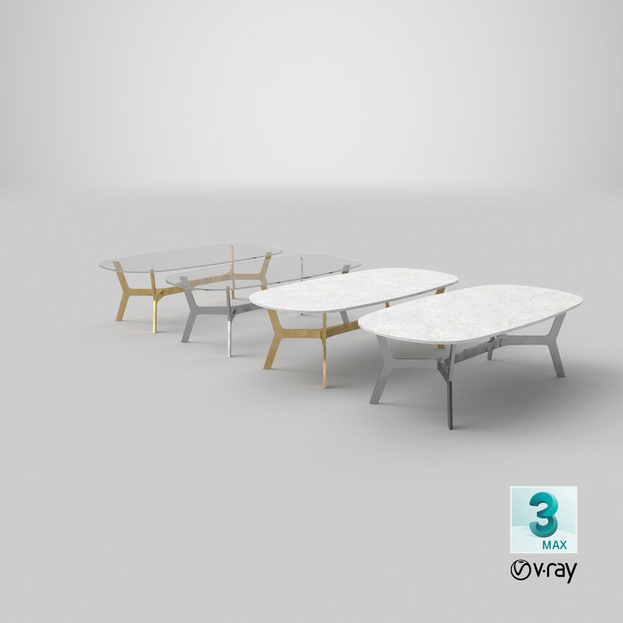 Elke Rectangular Coffee Table royalty-free 3d model - Preview no. 29