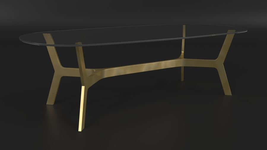 Elke Rectangular Coffee Table royalty-free 3d model - Preview no. 3