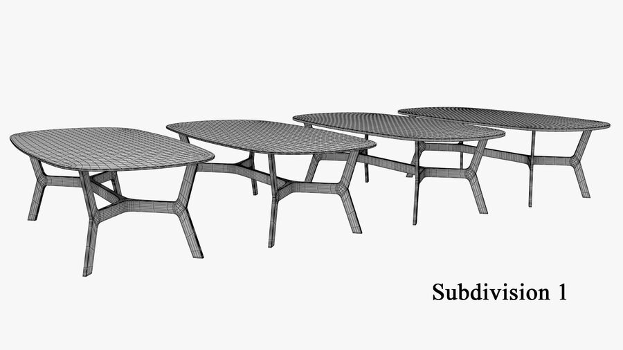 Elke Rectangular Coffee Table royalty-free 3d model - Preview no. 12