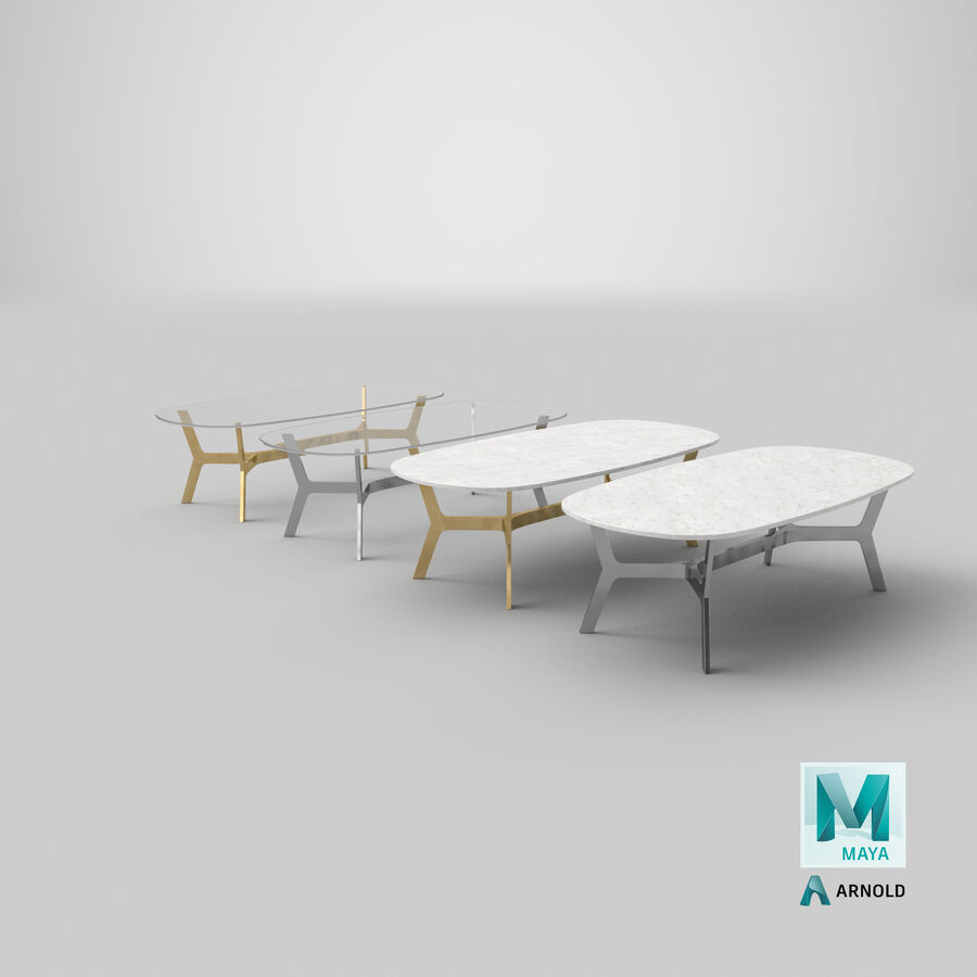 Elke Rectangular Coffee Table royalty-free 3d model - Preview no. 30