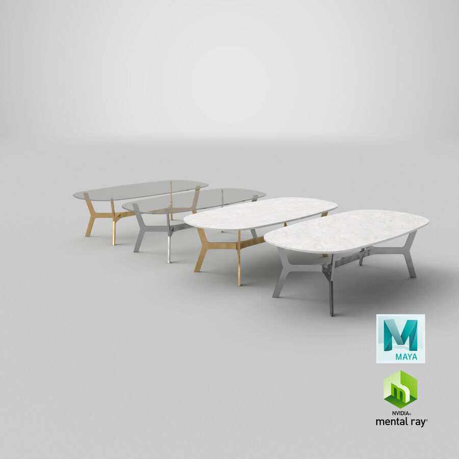 Elke Rectangular Coffee Table royalty-free 3d model - Preview no. 31
