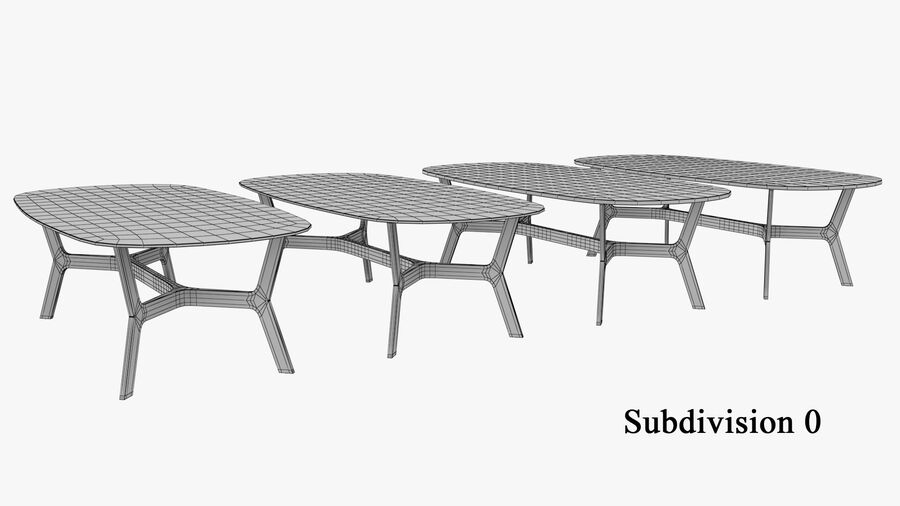 Elke Rectangular Coffee Table royalty-free 3d model - Preview no. 11