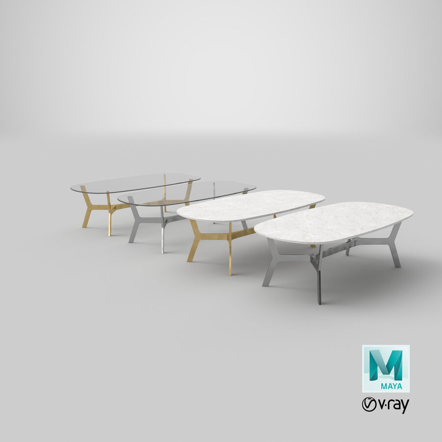 Elke Rectangular Coffee Table royalty-free 3d model - Preview no. 32
