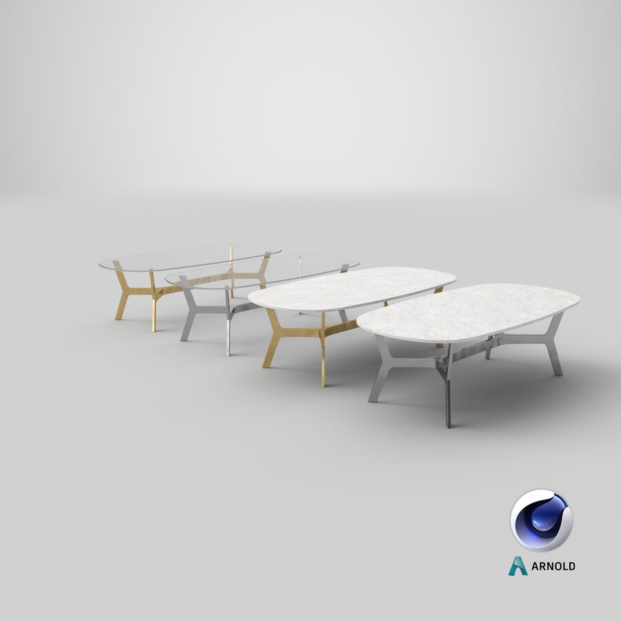 Elke Rectangular Coffee Table royalty-free 3d model - Preview no. 24