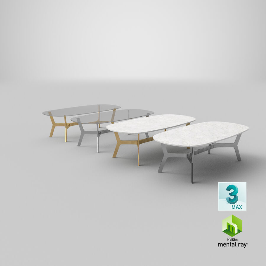Elke Rectangular Coffee Table royalty-free 3d model - Preview no. 28