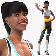 軽い肌のフィットネス女性が装備 3d model