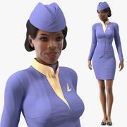 Light Skin Black Stewardess Rigged 3d model