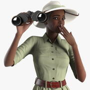 Dunkle Haut Black Woman Explorer manipuliert 3d model