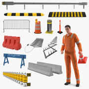 Trabalhador de estrada com coleção de barreiras rodoviárias 3d model