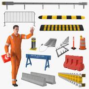 Trabalhador da estrada equipado com coleta de barreiras na estrada 3d model