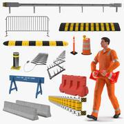 Trabalhador de estrada com coleção de barreiras de estradas montada para Cinema 4D 3d model