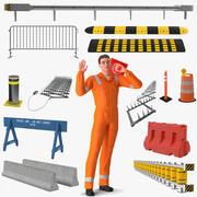 Trabalhador de estradas com coleta de barreiras de estradas montada para Maya 3d model