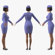 Light Skin Black Stewardess Rigged for Modo 3d model